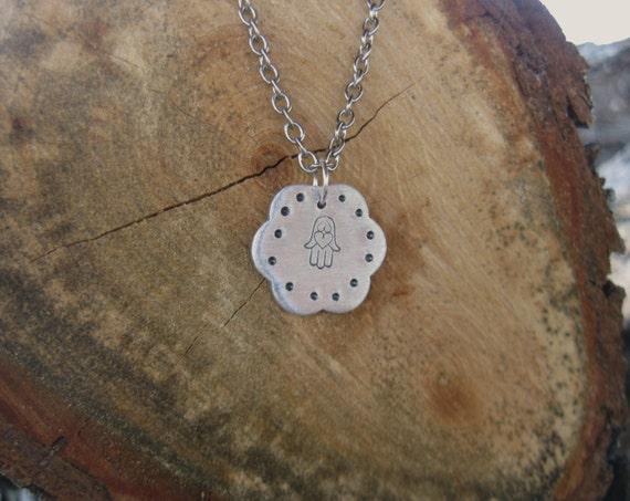 Hamsa Hand-Flower Necklace-Vegan-Yoga-Boho-Lucky Charm-Protection Charm-Gift-Birthday-Anniversary-Hippie-Eco Friendly