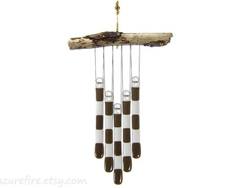 Brown and Gray Glass Wind Chime with Driftwood, Gray and Brown Windchime, Chocolate Brown Suncatcher