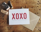 "Hugs and Kisses XOXO Letterpress Card • Size 3.25"" x 4.875"" • Red Ink •"
