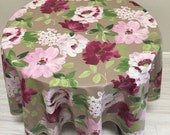 """Floral Tablecloth,  70"""" Round Tablecloth, French Country Coated Linen Tablecloth"""