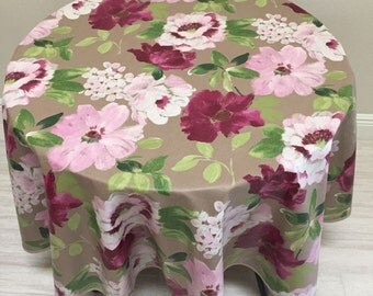 "Floral Tablecloth,  60"" Round Tablecloth, French Country Coated Linen Tablecloth"