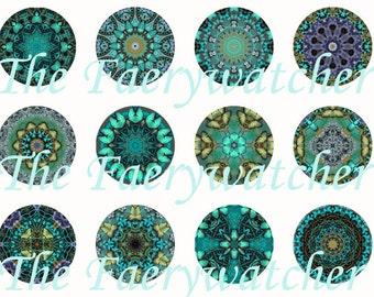 Teal Mandala Magnets, Teal Mandala Pins, Teal Mandala Flatbacks, Mandala Cabochons, Mandala Art, Mandala Party Favors, 12 Ct.
