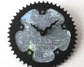 Brooklyn Bicycle Clock  |  Map Clock  |  Brooklyn NYC Map Clock  |  Bike Gear Clock