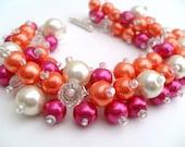 Hot Pink and Orange Pearl Beaded Bracelet, Wedding Jewelry, Bridesmaid Bracelet, Cluster Bracelet, Pearl Bracelet, Chunky Jewelry, Summer