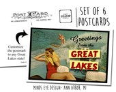 Greetings from the Great Lakes- Water Skiing Bathing Beauty in Boat POSTCARDS