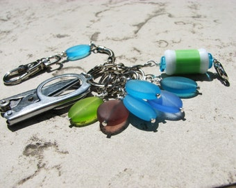 Sea Glass Knitter's Chatelaine with Non-Snag Stitch Markers, Row Counter & Folding Scissors on a Decorative Clasp
