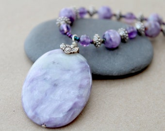 Charoite and Amethyst Sterling Silver Seed Bead Necklace