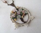 Tree of Life Pendant Necklace Set Art Nouveau Vintage Inspired