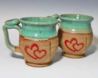 Heart mug, valentine's mug Handmade personalized pottery, turquoise, ready to ship