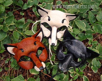 MADE TO ORDER Leather Fox Mask... masquerade fox foxes costume mardi gras halloween burning man splicer