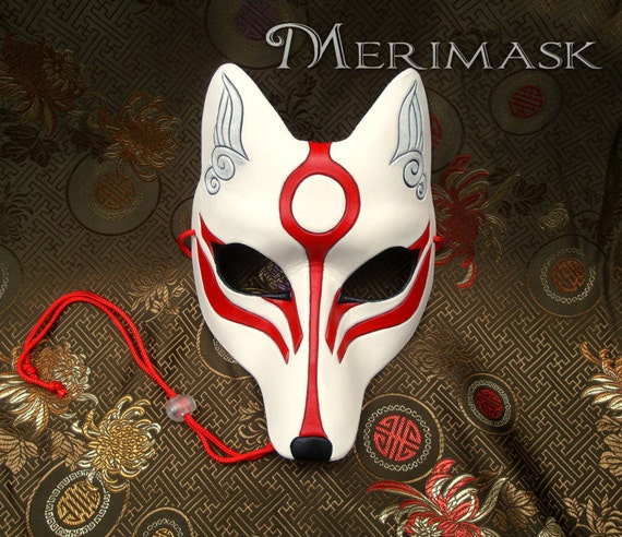 made to order okami kitsune mask masquerade japanese fox. Black Bedroom Furniture Sets. Home Design Ideas