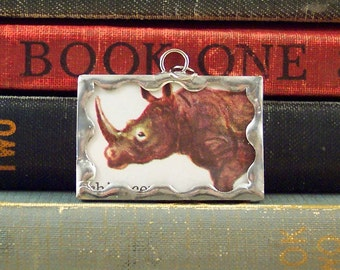 Rhino Charm - Rhinoceros Pendant - Soldered Glass Charm - Rhino Necklace- Vintage Childrens Dictionary Pendant - Book Charm