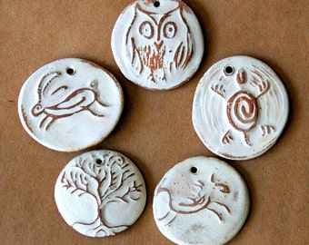 5 Handmade Ceramic  Beads - Natural Beads in Neutral Stoneware - Owl, Hare, Tree of Life, Turtle and Horse beads in Rustic Clay