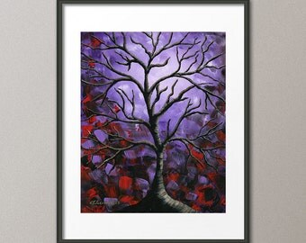 Gallery Canvas and Fine Art Prints Purple Red Tree Scenic Landscape Abstract Modern Contemporary Elena