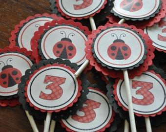 Ladybug. Cupcake Toppers. Cupcake Picks. Set of 12. Little Lady. Black. Red.