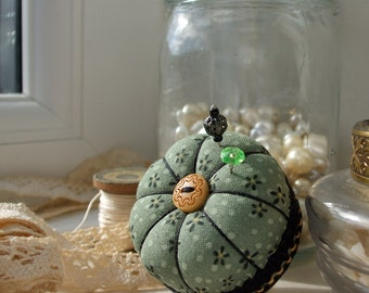 Miniature Pincushion, Sage and Black