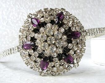 Purple Rhinestone Side Headband Vintage Jewelry Diadem Jeweled Hairpiece Amethyst Headpiece Bohemian Chic Gatsby Bride Downton Wedding Hair