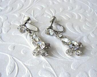 Rhinestone Dangle Screw Back Earrings Vintage Costume Jewelry Wedding Bridal Formal Prom Pageant Ballroom Bohemian Chic Great Gatsby Bride