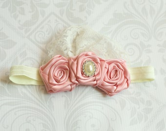 Pink Handmade trio of Rosettes Baby to Toddler Headband READY TO SHIP
