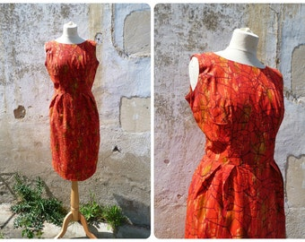 Vintage 1960/60s handmade day dress printed cotton size S/M