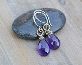 Royal Purple Amethyst Faceted Briolette Drop on Sterling Silver Earrings