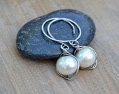 White Pearl Coiled on Sterling Hammered Curvy Small Hoop Earrings