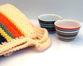 Crochet  kitchen  orange  yellow  stripes  Creamy Kitchen AWARDS //  pot holders