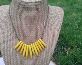 Yellow spike statement necklace