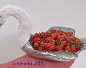 12thscale handmade miniature silver gilded swan & strawberries