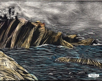 Oregon Cliffs Original Scratchboard