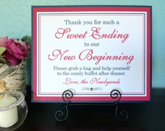 CLEARANCE 8x10 Flat Sweet Ending to Our New Beginning Printed Wedding Candy Buffet Sign in Navy Blue and Hot Pink - Ready to Ship