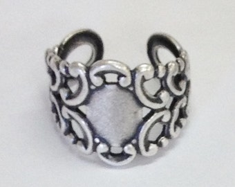 Filigree Ring Blank - 4 Silver Ox Filigree Adjustable Cuff Ring Blanks