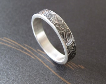 sterling silver ring modern mens wedding band unisex
