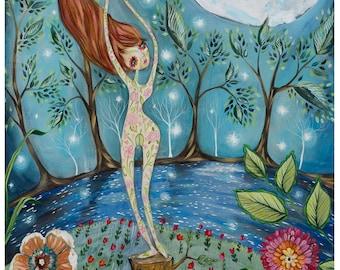 Mother Nature, moon, red hair, river, moon light, stars, flowers - La Luna Pop Surrealism Fine Art Print - by Heather Renaux-unframed