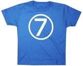 Kids CIRCLE Seventh Birthday T-shirt - Royal Blue