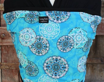 Super Lightweight Organic Bamboo Baby Sling Wrap Carrier-Blue Paisley on Black-DvD Included-One Size Fits All