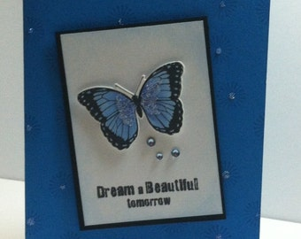 Butterfly Card - Hand Stamped Blank Card - Hand Stamped Birthday Card