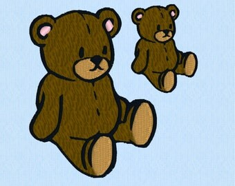 Teddy Bear Machine Embroidery Design File - two sizes