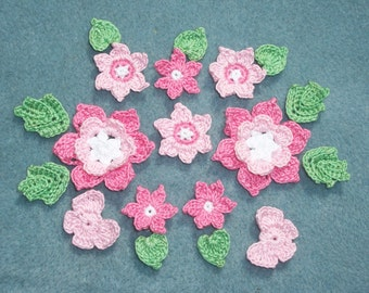 pink thread crochet applique butterflies and flowers with leaves  -- 2018