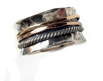 Stacking bands, silver gold ring, spinners ring, wedding band, twotone ring, Rustic silver band, Hammered silver band - Glory of love R2099