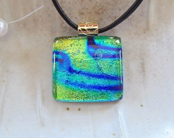 Dichroic Pendant, Glass Pendant, Fused Glass Jewelry, Gold, Green, Blue, Necklace Included, A4