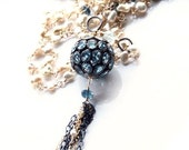 Statement Tassel Flapper Akoya Keshi and Blue Topaz Mixed Metal Pave Long Layering Wire Wrapped Necklace - SALE