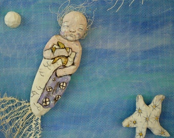 Mermaid Child's Seahorse Dream - Original Hand Carved Wood Mixed Medium Piece