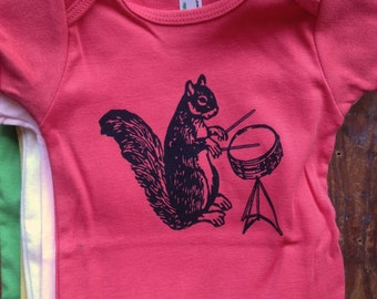 coral drumming squirrel romper one piece baby 6-12 month old organic infant