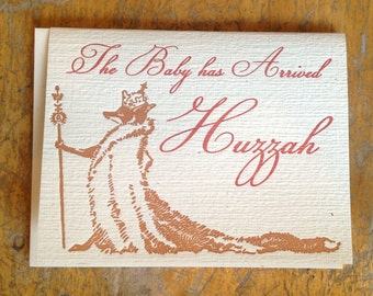 new baby fox king letterpress card blank recycled paper hand printed