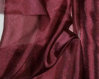 "Sparkle Organza fabric Aubergine  45"" wide sheer ..pageant dress skirts, formals, crafts, wedding, home decor"