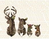 Realtree Xtra Green CAMO Camouflage Deer Family Car Window Decal Buck Doe Spike