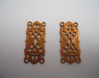 Pair Vintage Copper Filigree Connector Stamping