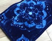 Mehndi Indigo Silk Velvet Bag- Large