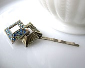 Carre Irise Hairpin - repurposed vintage iridescent rhinestone 1960's 'gem' on silver hairpin - Bridal - Prom - Free Shipping to USA